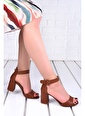 Ayakland Ayakland 1218 Cilt 7 Cm Topuk Bayan Topuklu Sandalet Taba